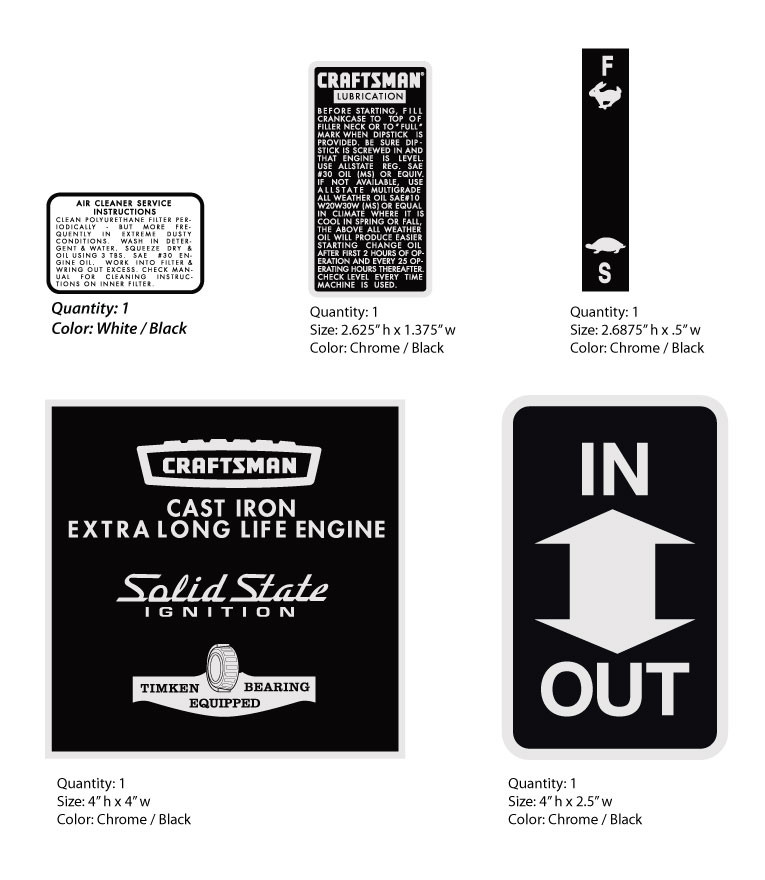 SEARS Suburban Assorted Decals