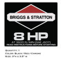 Briggs and Stratton 8HP Non-Synchro Engine Decal