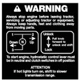 Simplicity Control Lever Warning Decal