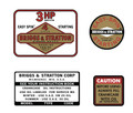 Briggs and Stratton 3hp Decal Set