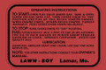 Lawn Boy Operating Instructions Decal