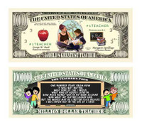 World's Greatest Teacher One Million Dollar Bill