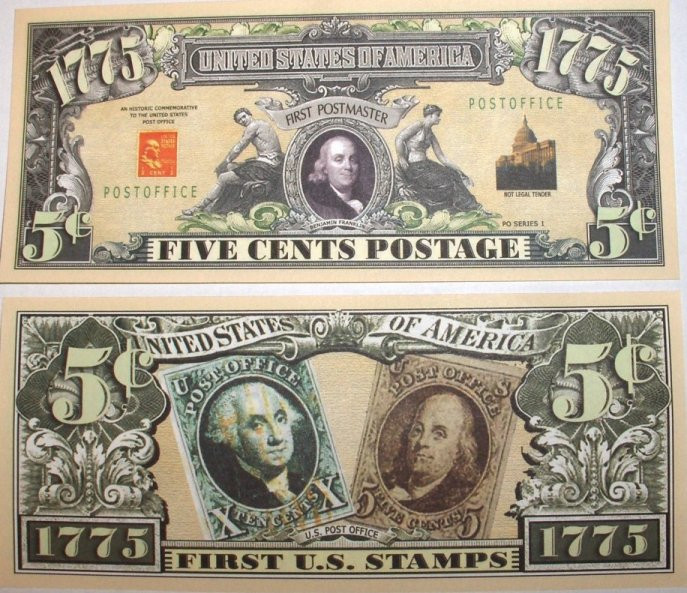Five Cent First US Stamp Collectible Dollar Bill