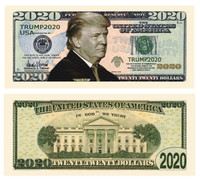 100 Donald Trump 2020 Re-Election Presidential Dollar Bill Novelty Bill-Presidential Money Wholesale Bulk Pricing Set of 100 Bills for $24.95