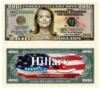 Hillary Clinton 2016 Presidential Dollar Bill-Hillary For President