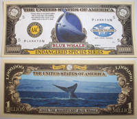Endangered Blue Whale One Million Dollar Bill