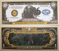 Endangered Elephant One Million Dollar Bill