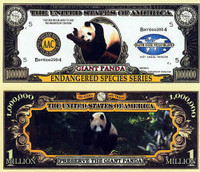 Endangered Giant Panda One Million Dollar Bill
