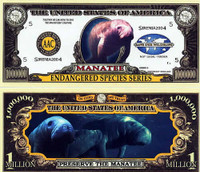Endangered Manatee One Million Dollar Bill