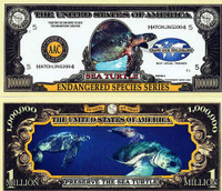 Endangered Sea Turtles One Million Dollar Bill
