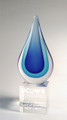 Multi-Blue Droplet Art Glass Award