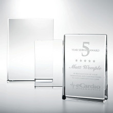 "Optical Crystal Horizontal Rectangle Plaque Award, 3"", 3 sizes available"