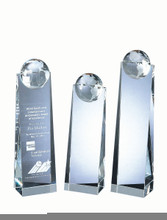 "GLOBE TOWER, Crystal Award, 9"", 3 sizes available"