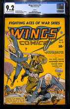 Wings Comics #21 (1942) CGC 9.2 NM- Classic WWII cover
