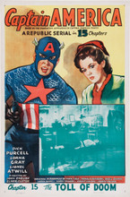 Captain America Serial CH 15 (Republic 1944) One Sheet Linen