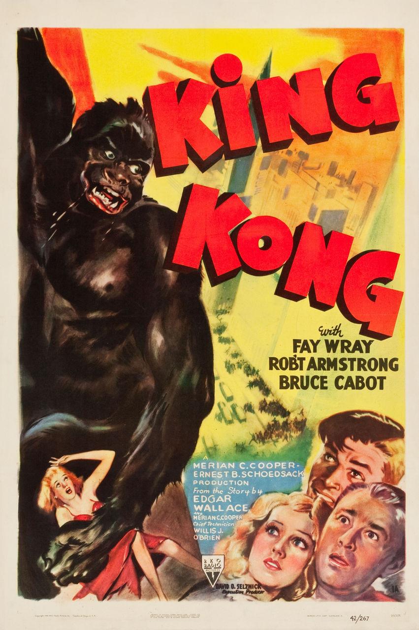 King Kong 1933 Rko 1942 Re Issue One Sheet Poster Linen Rare