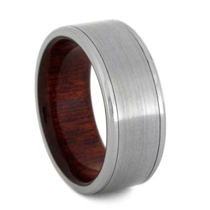 The Base Metal Is Tungsten Known For Its Durability And Scratch Resistant Properties Middle Of Ring Brushed Titanium