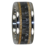 8 mm Unique Mens Wedding Bands in Black Carbon Fiber and Mango Wood Inlay, Titanium - N333H