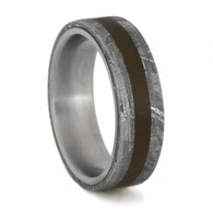 6 mm Titanium with Petrified Wood and Gibeon Meteorite Wedding Ring - P728M