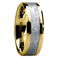 7 mm Mens Wedding Bands with 14 kt. Gold/Meteorite - G119M