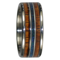 9 mm Black Peacock Opal, KOA Inlay, Titanium Bands - ZZ101H