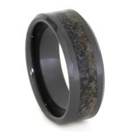 8 mm Unique Mens Wedding Bands with Black Ceramic/Dino Bone - BC331M