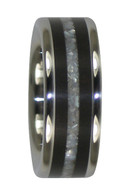 8 mm White Pearl & Ebony Wood Inlay, Titanium - WP555H
