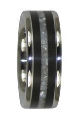 8 mm White Pearl & Ebony Wood Inlay, Titanium - WP555H