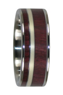 8 mm Purple Heart Wood & 14 Kt. Green Gold Inlay, Titanium - GG888H