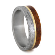 7 mm Mens Wedding Bands with 14 K Gold and Meteorite - AM406M