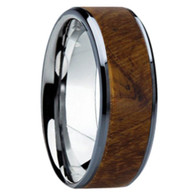 8 mm Unique Mens Wedding Bands - Tungsten & Teak Wood - TT119M