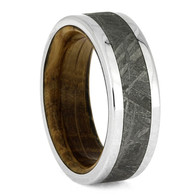 8 mm Titanium with Gibeon Meteorite and Whiskey Oak Wood - WBM649M