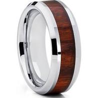 8 mm Wood Mens Wedding Bands, Tungsten - P222C