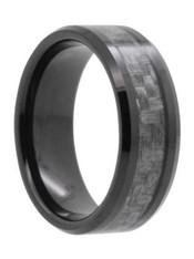 8 mm Mens Wedding Bands, Carbon Fiber in Tungsten - N555C