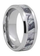 8 mm Mens Wedding Bands, Camo Tree Inlay Tungsten - O444C