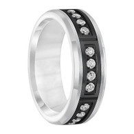 .42 cwt Diamond Ring White/Black Tungsten - D045MC