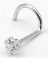 14K white or yellow gold prong star nose screw cubic zirconia 20g