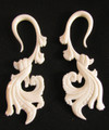 Ornately carved bone Chantilly hanging spiral gauge ear earrings 8g, 6g, 4g, 2g