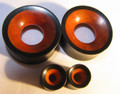Redwood on Ebony organic gauge ear tunnels, spacers, earlets