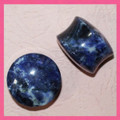 Sodalite ,organic, stone, gauge, ear plugs, double flared gauges 10g - 1""