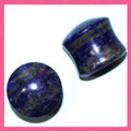 Lapis Lazuli stone ear gauges, doube flared, organic plugs - 10g - 11/16""