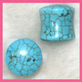 Natural Chinese Turquoise stone ear plugs, organic gauges - 8g -1/2""