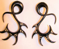 "Tribal black horn ZENITH hanging ear gauges - 12g - 1/2"" organic spirals or tapers"