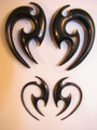 "RAZOR black horn hanging ear gauges - 12g - 1/2"" organic tribal spiral plugs"