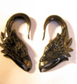 RAPTOR eagle carved, black horn, hanging ear gauges - 12g - 00g organic spiral plugs