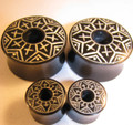 "CRUX black horn and bone dust inlay gauge ear tunnels - 2g - 1 1/8"" organic spacer plugs"
