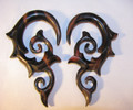 "EROS wood tiger ebony spiral ear gauges - 8g - 1/2"" organic hanging plugs for stretched piercings"