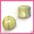 "Butter Jade stone ear plugs - 12g - 11/16"" organic, double flared body jewelry"