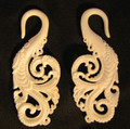 SNOW swan ornately carved hanging ear gauges - 8g - 0g white bone, spiral, organic earrings
