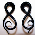 TWISTER black horn spiral ear gauges - 8g - 00g twist taper earrings for stretched piercings